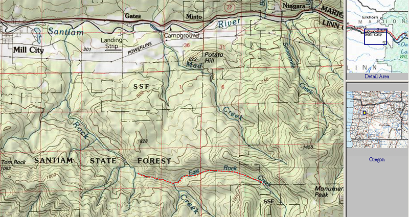 Mill City Oregon Map.The East Fork Of Rock Creek